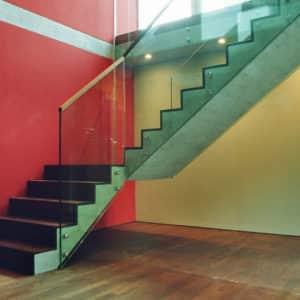 Escalier verre, maisons privées mitoyennes