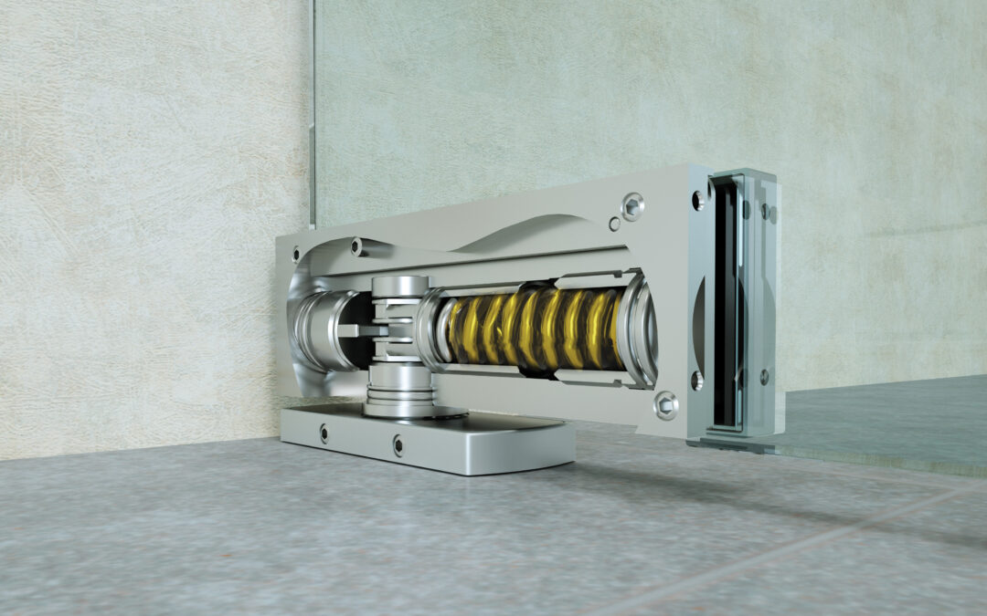 Hydraulic hinges for a pivoting glass door