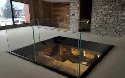Glass railing mezzanine, bakery