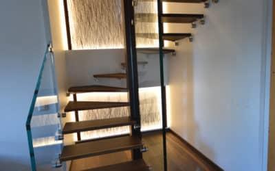 Escalier bois et verre pour une villa