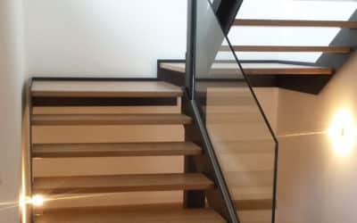 Glass stair railing, Private villa