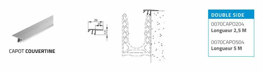 Capot garde-corps en verre SABCO, pour application couvertine