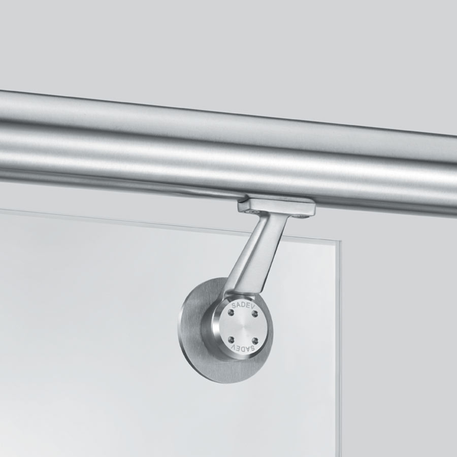 Handrail bracket on glass for balustrades - faceted design