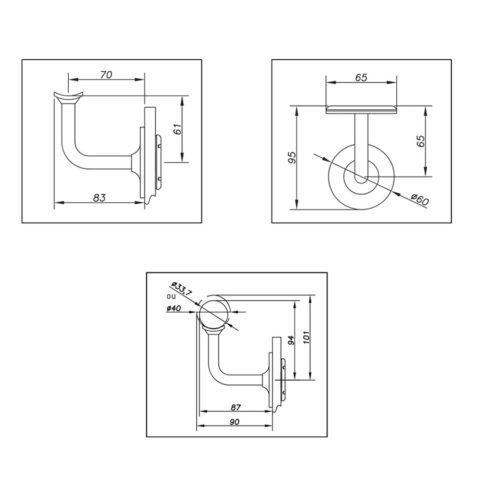 Cavalier de main courante sur verre pour garde-corps - design rond
