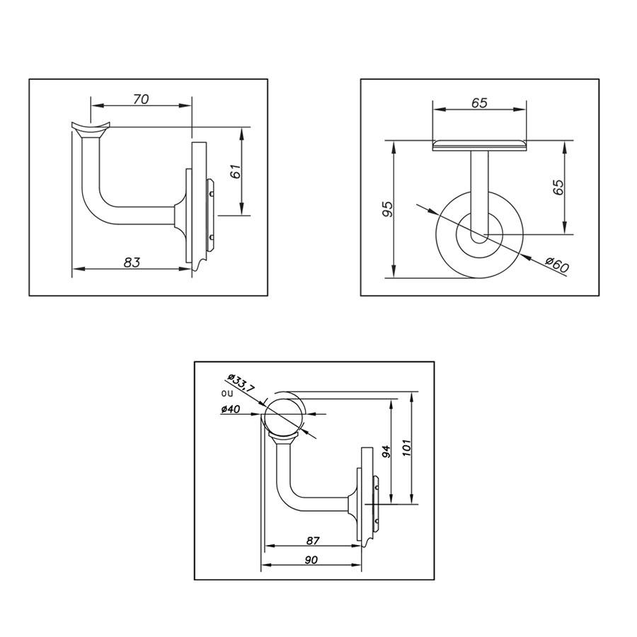 Handrail bracket on glass for balustrades - round design