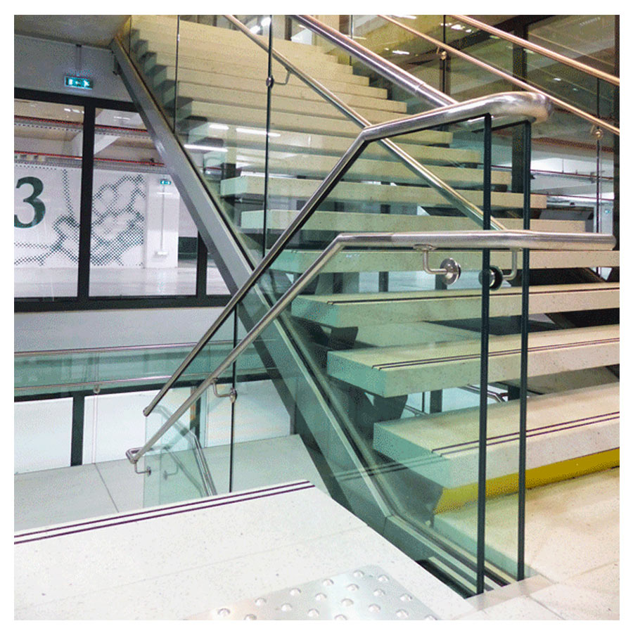 Clamped handrail support for glass balustrades - Clamped betwenn glass - undrilled