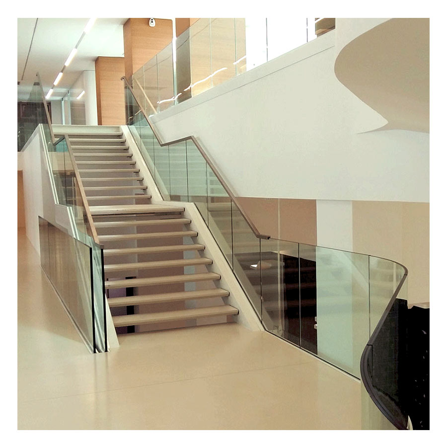 SABCO Frameless glass balustrade, built-in-slab mounting - railing function - public, commercial application - technical evaluation - From 3 to 5.1 KN