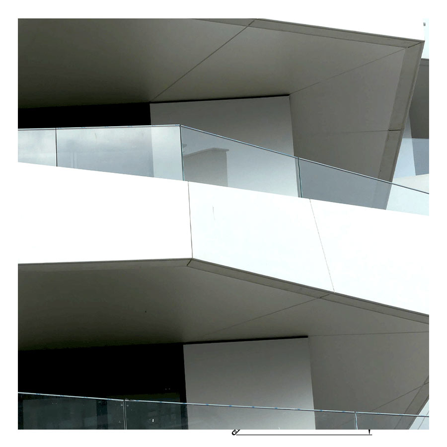 SABCO Frameless glass balustrade, offset double fixing - railing function - public, commercial application - From 3 to 5.1 KN