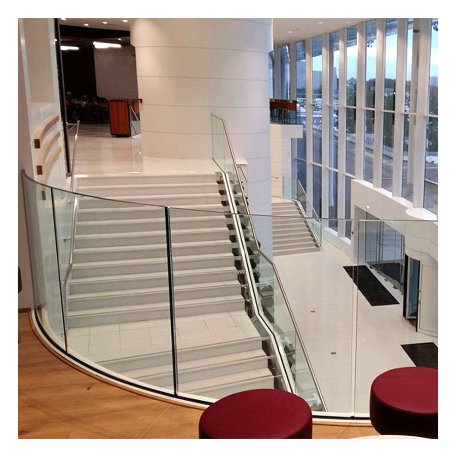 SABCO Frameless glass balustrade, lateral mounting - railing function - public, commercial application - technical evaluation - From 3 to 5.1 KN