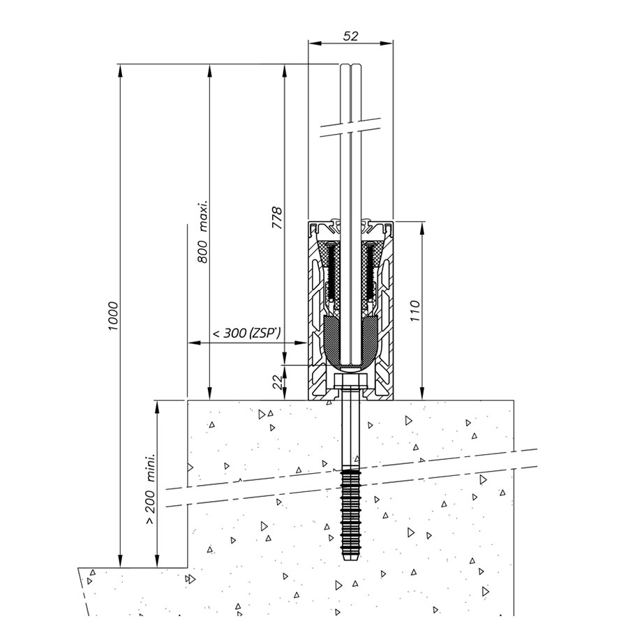 Garde-corps verre SABCO montage acrotère - fonction balustrade - application privée et publique - encombrement réduit - De 0,6 à 3 KN-3