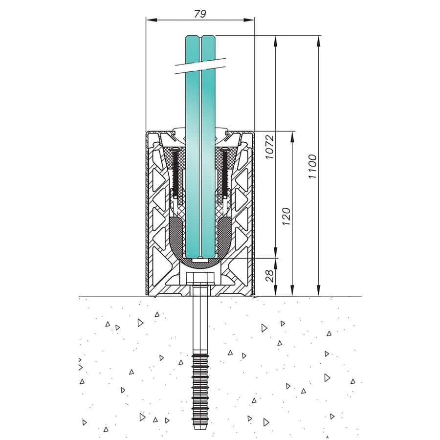 Garde-corps verre SABCO montage au sol - fonction balustrade - application stade et haute performance - avis technique - De 3 à 9 KN