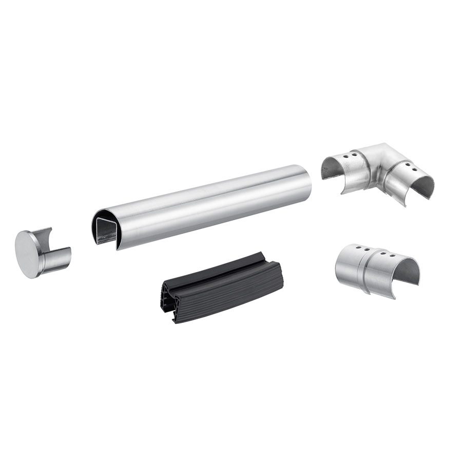 Handrail for glass balustrades ø 60,3 mm tube with slot for glass - stainless steel AISI 304, 316 round tube profile
