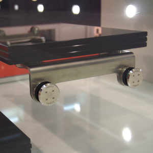 Mounting bracket for glass staircase - glass-to-glass fastening