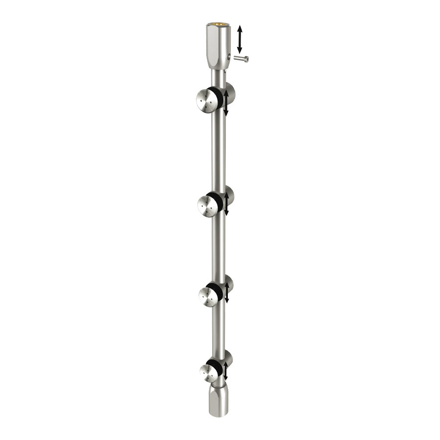 Stainless steel bar system 304 for glass hinged doors - easy assembly - installation on transom