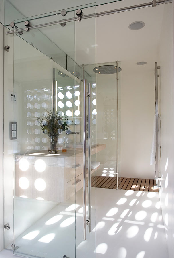 Glass Door Sliding system - easy to install for glass doors of any height, without transom, on wall or glass