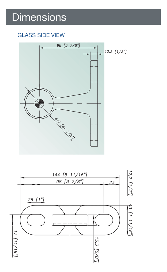 Spider Fitting with Plate for Point Fixed Architectural Glass - Stainless Steel AISI 316- Technical evaluation
