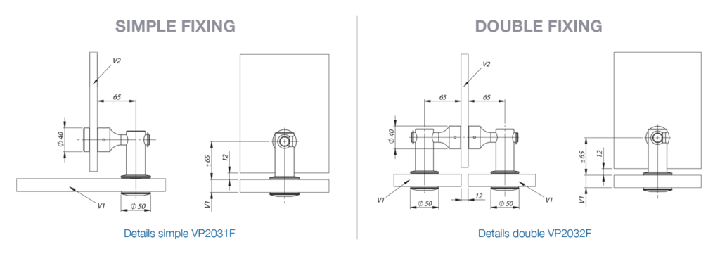Hook Fixing for Glass Facade - Dimensions
