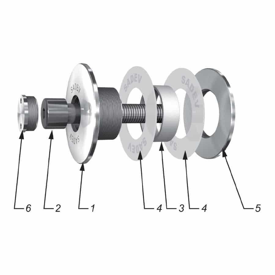 Fixation VEA non rotulée tête cylindrique non affleurante - montage à l'aveugle contre support