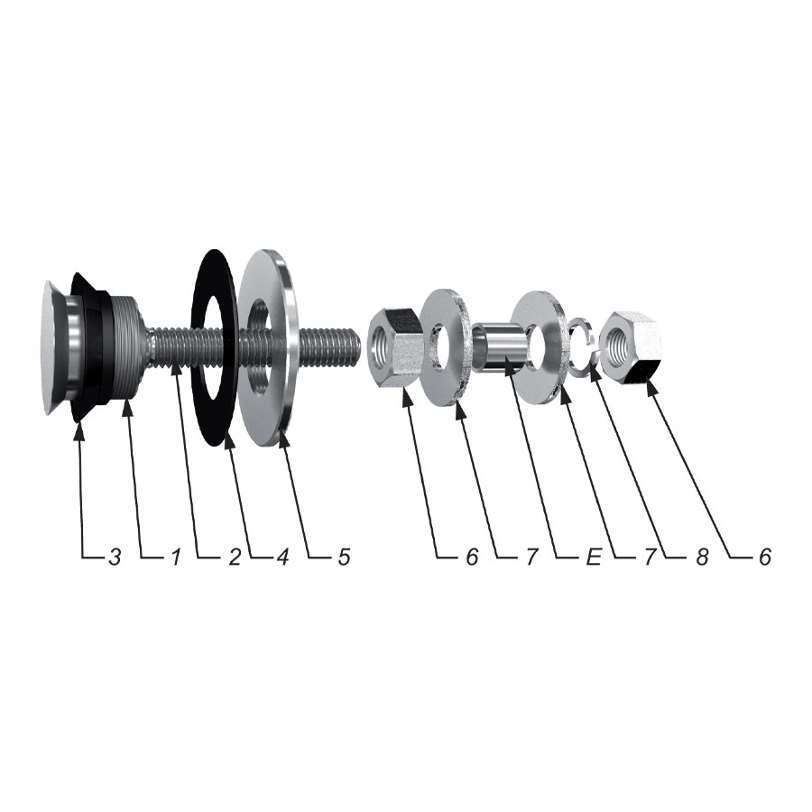 Swivel fitting - rotule - for structural bolted glass - low cost