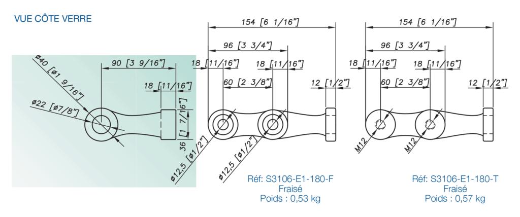 attache de fonderie inox 316 avec platine - design fin