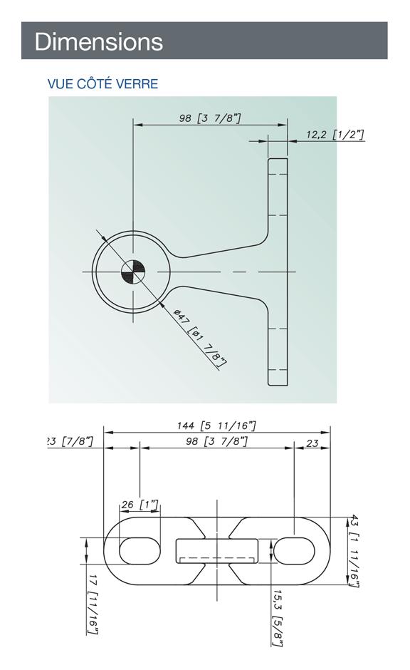Attache de fonderie inox 316 monobranche avec platine - Avis technique