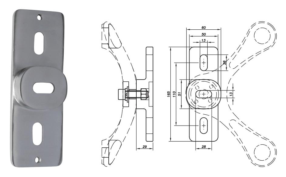 Oméga de fixation sur support plat - Inox 316