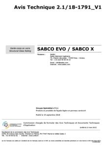 Sabco Evo X Avis Technique 2.1 18 1791 V1 Fr