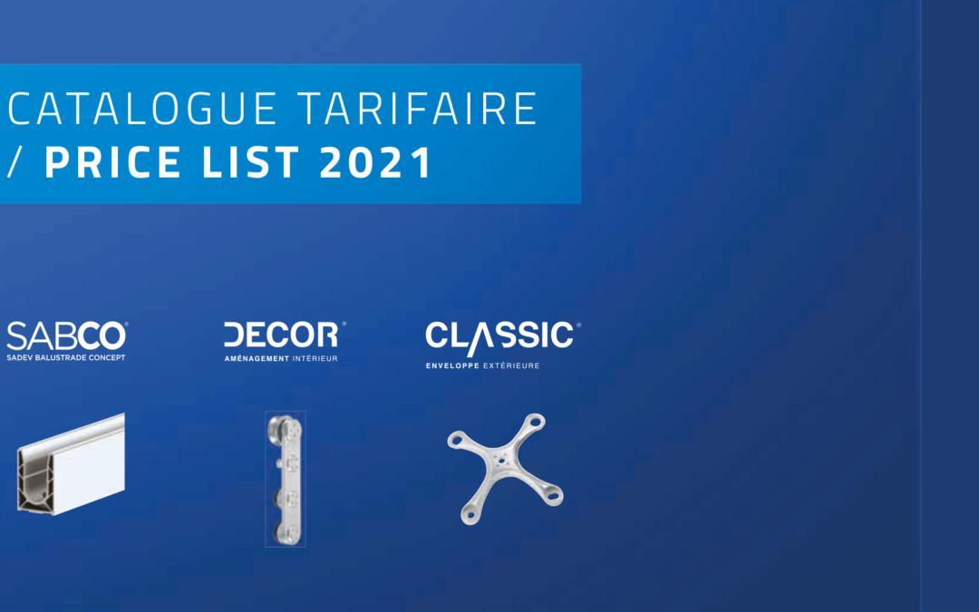 Tarif SADEV 2021