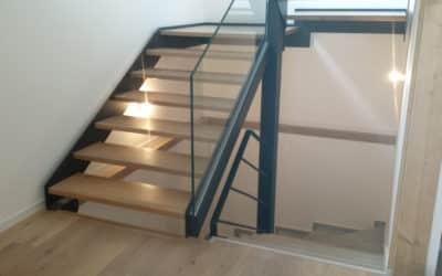 Rambarde d'escalier en verre, Villa privée